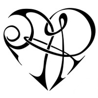 A+R & R+A heart tattoo