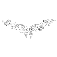 Butterfly and flowers lower back tattoo