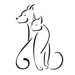 Stylized cat and dog tattoo