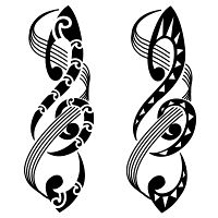 Music tattoo - treble clef and staffs