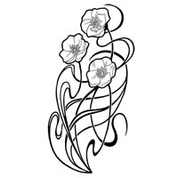 Art Nouveau poppies tattoo