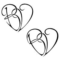 B+V union heart tattoo