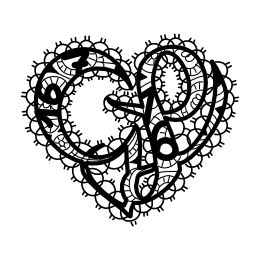 G+L lace heart tattoo