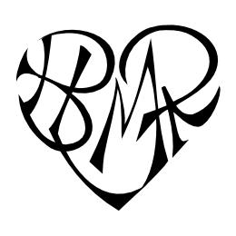 B+L+M+R heart tattoo