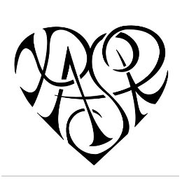P+A+S+R heartigram tattoo