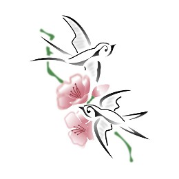Swallows and peach flowers tattoo
