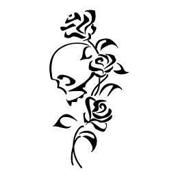skull and roses tribal tattoo
