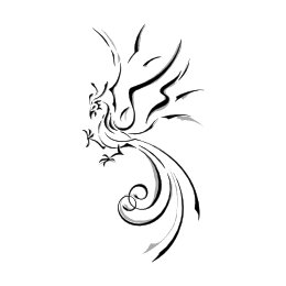 Stylized tribal phoenix tattoo