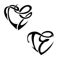 T+E heart shaped tattoo