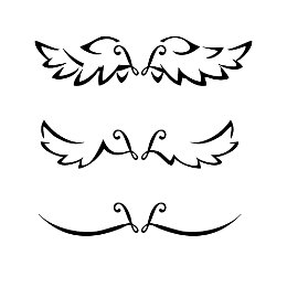 V+L Stylized angel wings tattoo