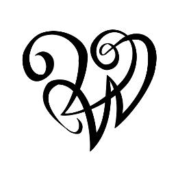 V+W lettering heart tattoo