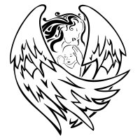 Tattoo of an angel protecting a baby
