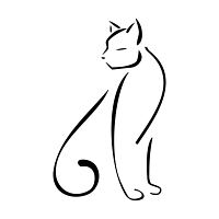 Stylized sitting cat tattoo