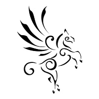 Stylized winged horse tattoo