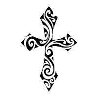 Swirly tribal cross tattoo