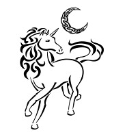 Unicorn and crescent tribal tattoo