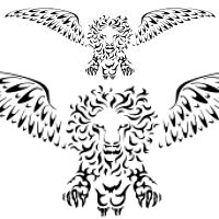 Winged jumping lion
