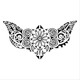 Polynesian lower back tattoo