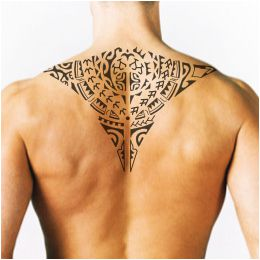 Upper back manta tattoo