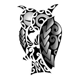 Polynesian owl coverup tattoo