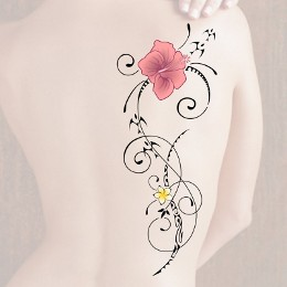 Backside floral life tattoo look