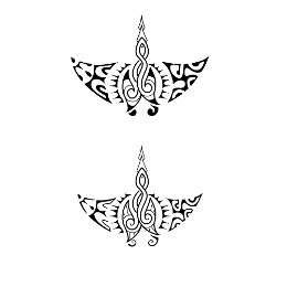 Double matau manta tattoo