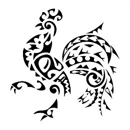 Polynesian rooster tattoo