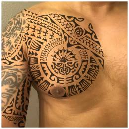 Polynesian sleeve intagration tattoo