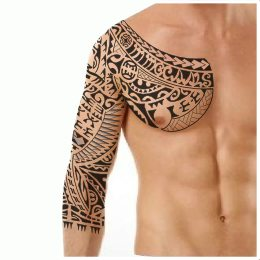 3/4 polynesian sleeve tattoo