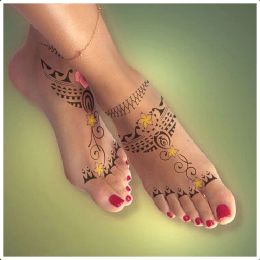Mehndi polynesian feet tattoo