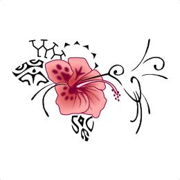 Hummingbird and hibiscus Polynesian tattoo