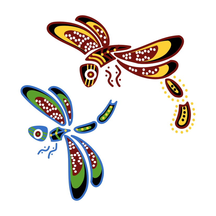 Australian aboriginal dragonflies tattoo