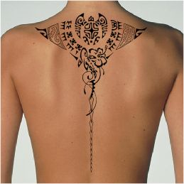 Polynesian back manta tattoo