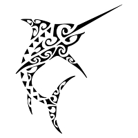 Polynesian style sword fish tattoo
