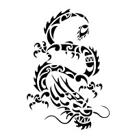 Maori styled Chinese dragon tattoo