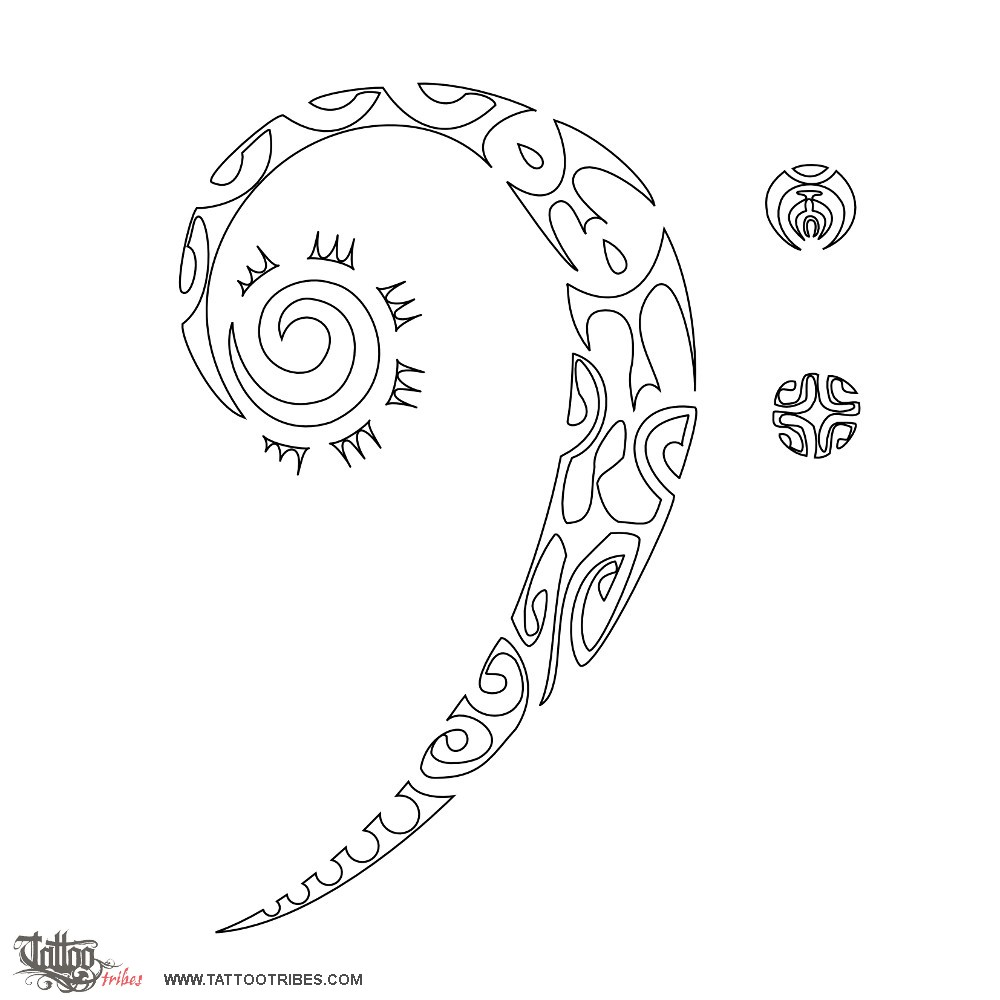 Tribal Bass Clef Tattoo Designs