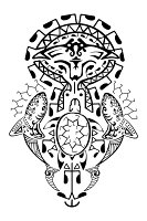 Polynesian ocean tattoo - manta, shark and turtle