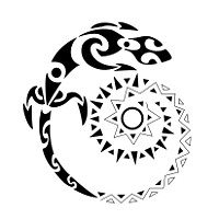 Positive living maori lizard tattoo