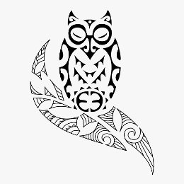 Tiki owl and olive branch tattoo