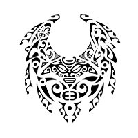 Maori style good luck fu bat tattoo