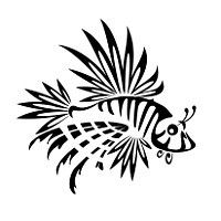 Tribal lion fish tattoo