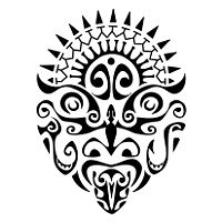 Maori warrior mask tattoo