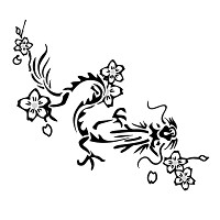 Chines dragon and cherries tattoo