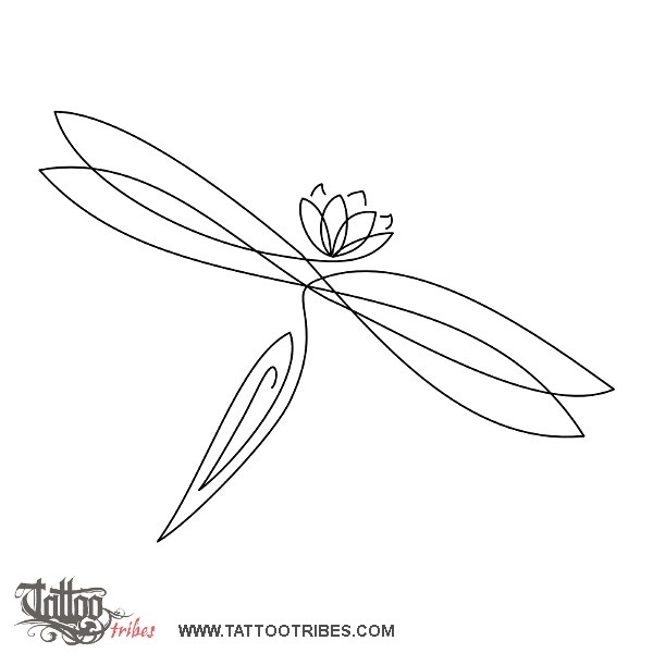Dragonfly Tattoo Line Drawing : Tattoo of dragonfly and lotus rebirth custom
