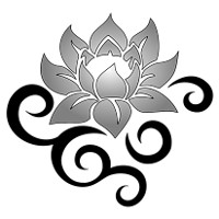 Strong lotus tribal tattoo