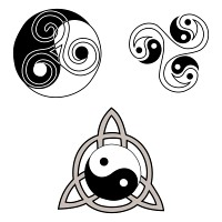 Ying and Yang triskell triquetra tattoo