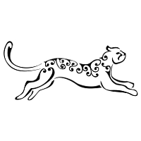 Stylized leaping leopard tattoo
