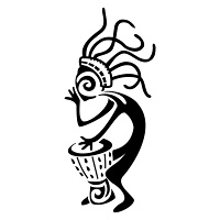 Kokopelli playing djembe tattoo