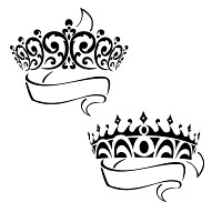 Prince and princess crowns with banner tattoo