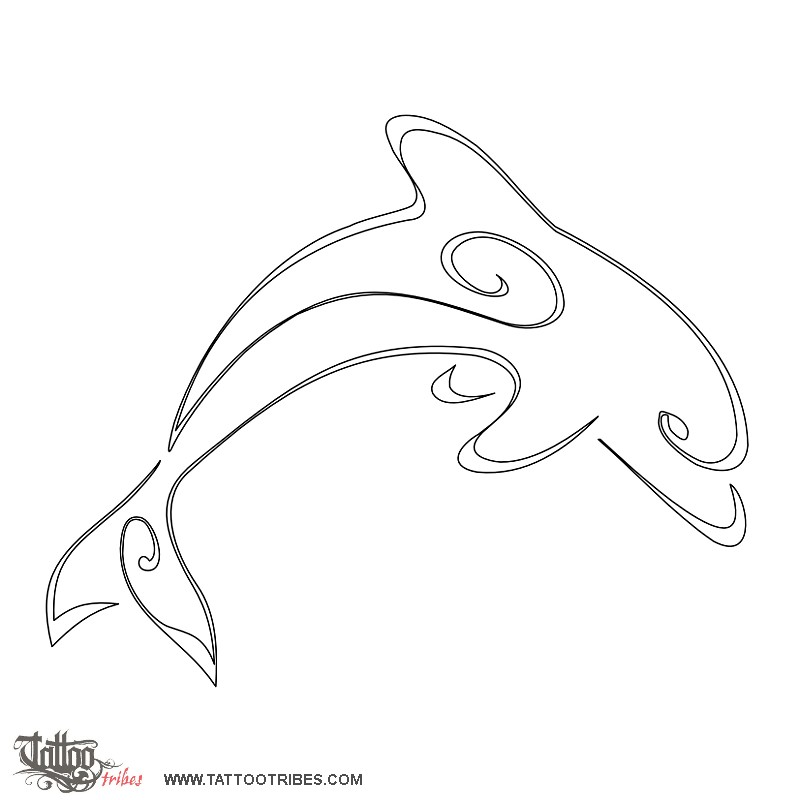 Dolphin outline tattoo - photo#15